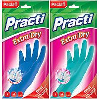 "Перчатки резиновые Paclan ""Practi Extra Dry"", S, цвет микс, пакет с европодвесом"