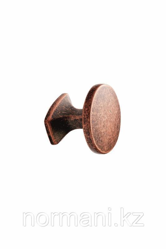 Мебельная ручка кнопка CLASSIC d.34мм, отделка медь