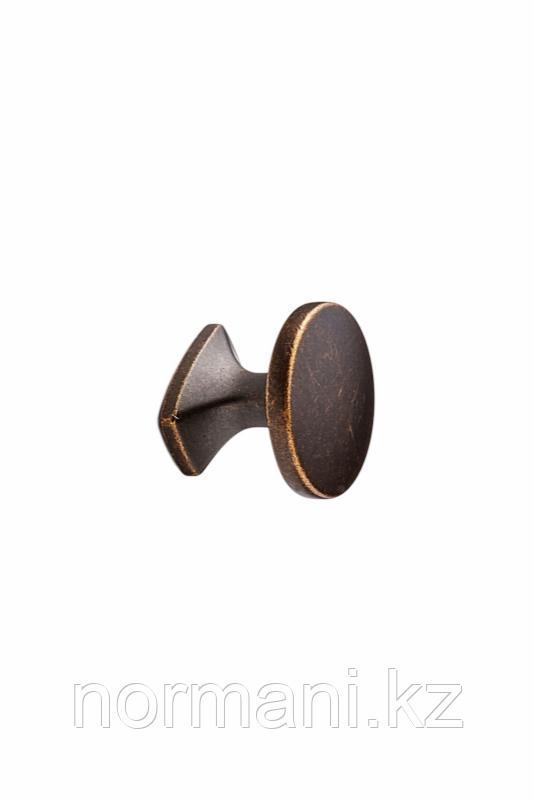 Мебельная ручка кнопка CLASSIC d.34мм, отделка бронза темная