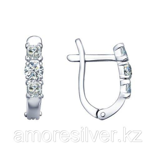 Серьги SOKOLOV серебро с родием, фианит , дорожка 94021704