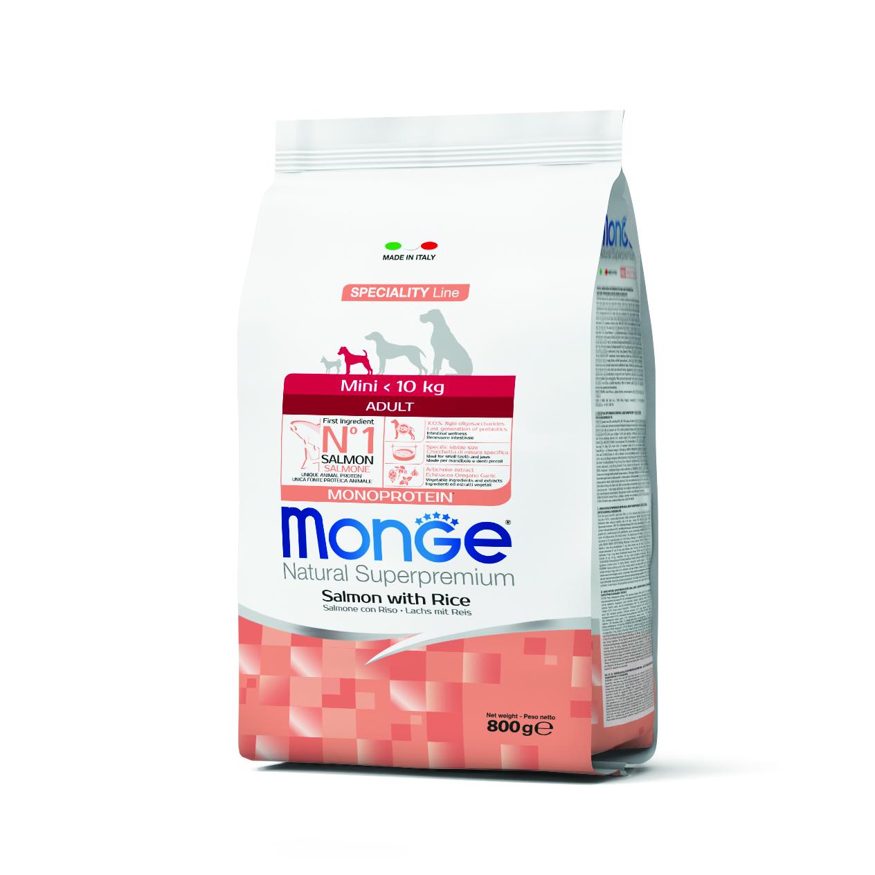 Monge Корм для собак мелких пород с лососем, 800 гр