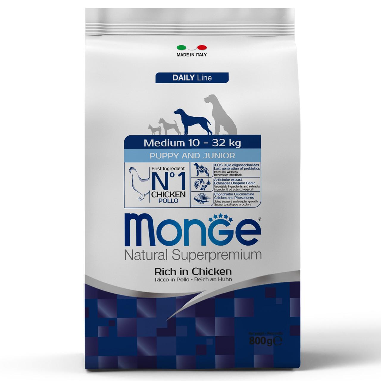 Monge для щенков средних пород с цыплёнком, 800 гр.