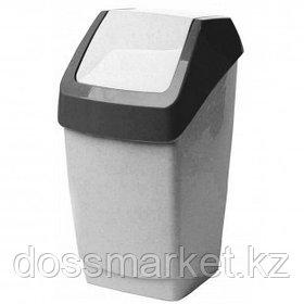 Ведро для мусора с крышкой-вертушкой М-пластика, 15 л, пластик, мрамор