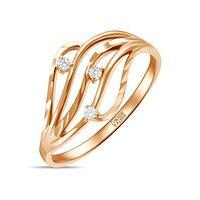 Золотое кружевное кольцо из красного золота с фианитами 2 г