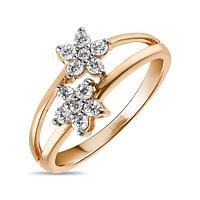 Золотое кольцо из красного золота с 12 фианитами 2 г