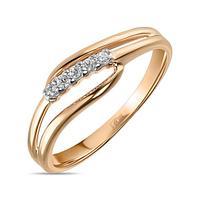 Золотое кольцо из красного золота с фианитами 1,7 г