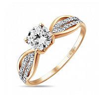 Золотое кольцо из красного золота с фианитами 2 г