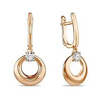 Золотые серьги с подвесным кольцом из красного золота с фианитом 3,8 г