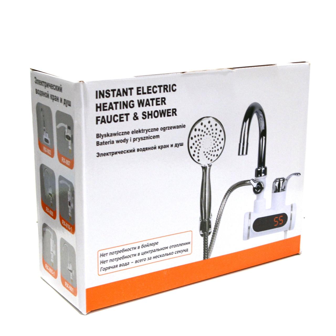 Проточный электрический водонагреватель c душем и дисплеем Instant Electric Heating Water Faucet - фото 7