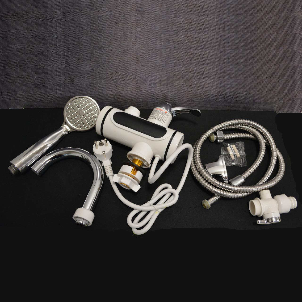 Проточный электрический водонагреватель c душем и дисплеем Instant Electric Heating Water Faucet - фото 6