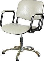 Кресло парикмахерское МЭДИСОН КОНТАКТ пневматика хром, пятилучье хром на подпятниках, серебро