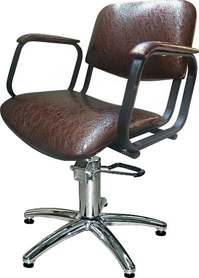 Кресло парикмахерское МЭДИСОН КОНТАКТ гидравлика хром, пятилучье хром на подпятниках, коричневое