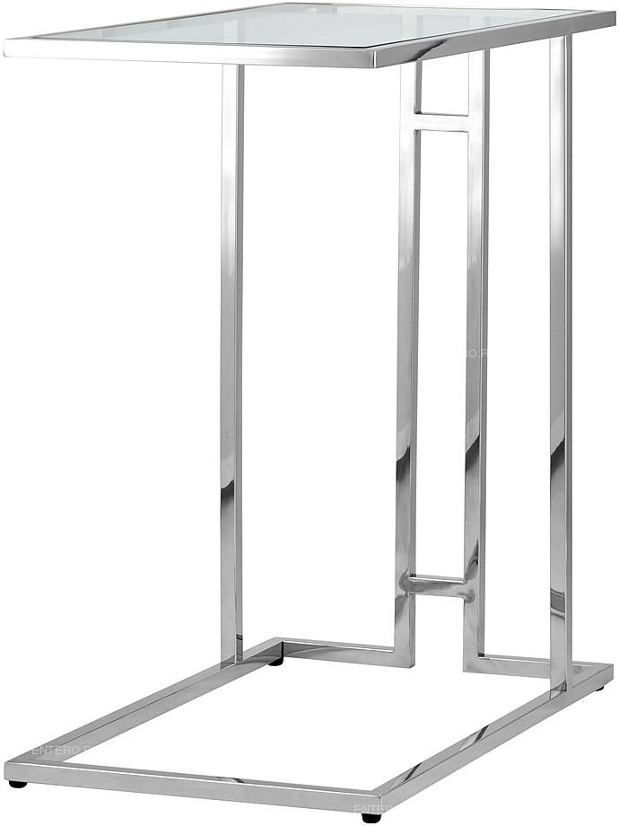 Стол журнальный Stool Group 50*32 Бостон прозрачное стекло сталь серебро