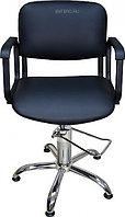 Кресло парикмахерское МЭДИСОН КОНТАКТ гидравлика хром, пятилучье хром на подпятниках, синее