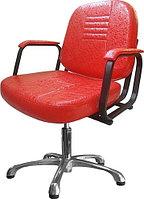 Кресло парикмахерское МЭДИСОН БРИЗ пневматика хром, пятилучье хром на подпятниках, красное