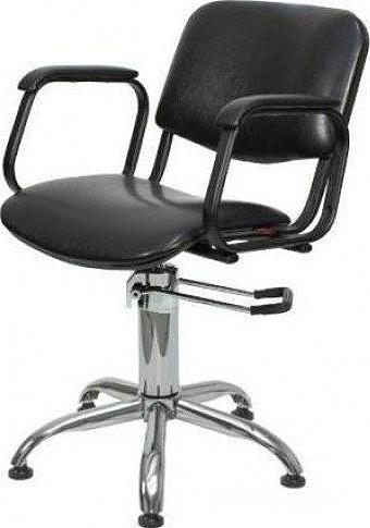 Кресло парикмахерское МЭДИСОН КОНТАКТ гидравлика хром, пятилучье хром на подпятниках, черное матовое