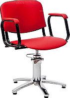 Кресло парикмахерское МЭДИСОН КОНТАКТ гидравлика хром, пятилучье хром на подпятниках, красное