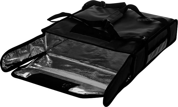 Термосумка Luxstahl на 2 пиццы 420х420х100 мм фольгированная большая с вентиляцией черная