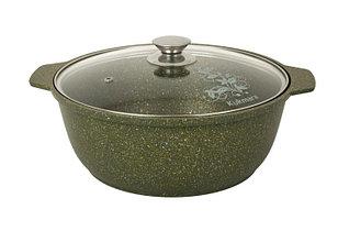 "Кастрюля-жаровня 4 литра со стеклянной крышкой, ""Trendy style"" (malachite)"