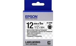 Лента Epson C53S654012 LC-4TBN9 Прозрачная лента 12мм, Прозр./Черн., 9м