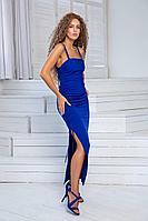 Женское летнее синее нарядное платье DoMira 01-605 темно-синий 42р.