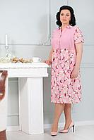Женское летнее из вискозы розовое нарядное большого размера платье MadameRita 5140 розовый 52р.