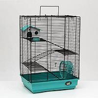 """Клетка для грызунов """"Пижон"""" №5, с 3 этажами, укомплектованная, 41 х 30 х 58 см, бирюзовая"""