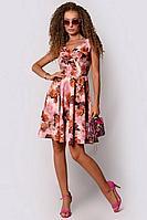 Женское летнее розовое нарядное платье PATRICIA by La Cafe NY14593-1 розовый,рыжий 42р.