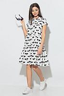 Женское летнее хлопковое платье Koketka i K 840-1 белый_очки 44р.