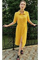 Женское летнее льняное желтое нарядное большого размера платье Romgil 20с276-46 желтый 42р.