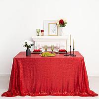 Скатерть с пайетками, цв.красный, 300*300 см