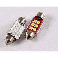 Лампа светодиодная 11-36 (SV8,5) 6 SMD 3030, CANBUS обманка, радиатор, 12В