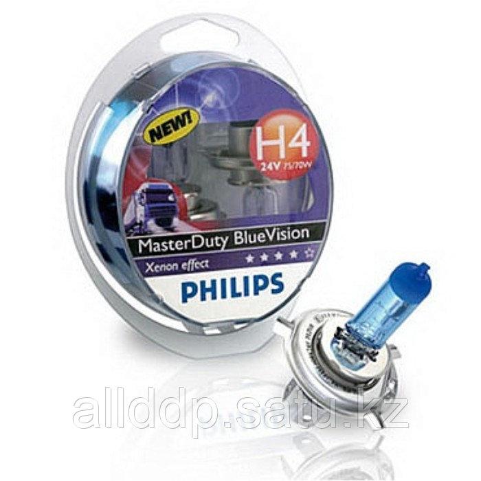 Лампа автомобильная Philips MasterDuty BlueVision, H4, 24 В, 75/70 Вт, 2 шт, 13342MDBVS2
