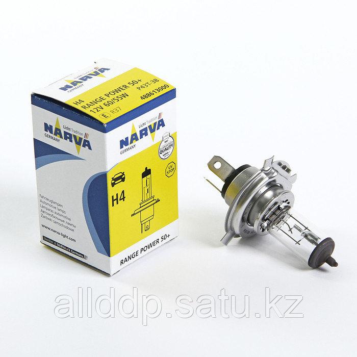 Лампа автомобильная Narva Range Power 50+, H4, 12 В, 60/55 Вт, (P43t) RP50