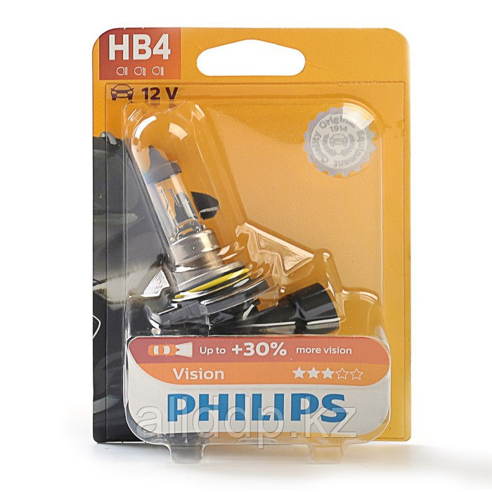 Автолампа PHILIPS Vision +30%, HB4/9006 (P22d), 12 В, 55 Вт, блистер, 9006 PR B1