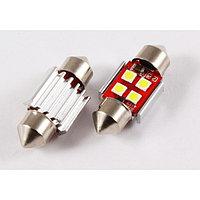 Лампа светодиодная 11-31 (SV8,5) 4 SMD 3030, CANBUS обманка, радиатор, 12В