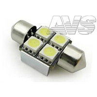 Лампа светодиодная T11 C007 /белый/ (SV8,5/8) 4x5050 SMD 31mm CANBUS, блистер, набор 2 шт