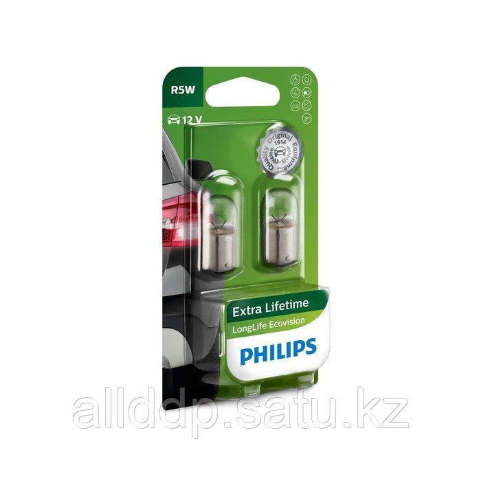 Лампа автомобильная Philips Long Life EcoVision, R5W, 12 В, 5 Вт, 2 шт, 12821LLECOB2