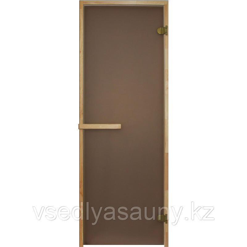 Дверь бронза  1900х800 мм (8 мм,3 петли, коробка Осина).