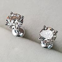 Золотые серьги пуссеты с бриллиантами 0.80Ct SI2/L, VG-Cut, фото 1