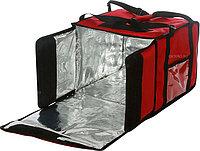 Термосумка Luxstahl на 9-10 пицц 350х350х500 мм фольгированная с вентиляцией красная