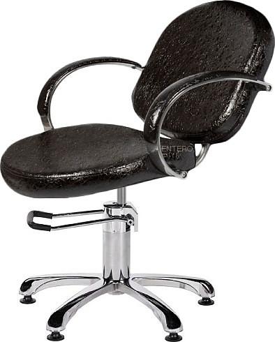 Кресло парикмахерское МЭДИСОН ОРИОН Люкс гидравлика хром, пятилучье хром на подпятниках, черное лаковое