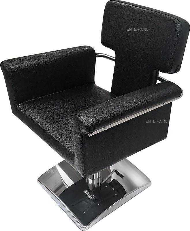 Кресло парикмахерское МЭДИСОН МД-77 гидравлика хром, квадрат хром, черное текстурное № 92