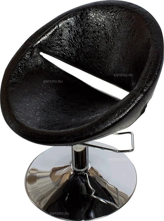 Кресло парикмахерское МЭДИСОН ЭММА гидравлика хром, квадрат хром, черное лаковое текстурное