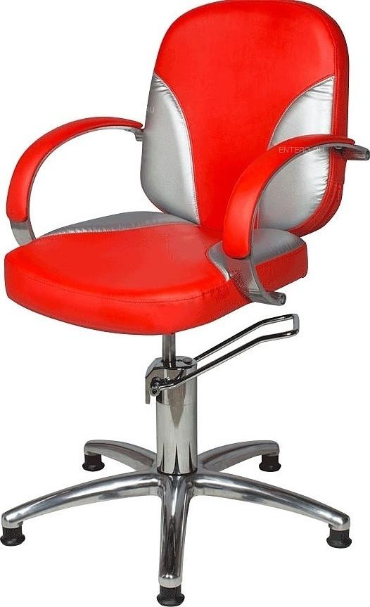 Кресло парикмахерское МЭДИСОН ВАЛЕНТИНА Люкс гидравлика хром, пятилучье хром на подпятниках, комбинация