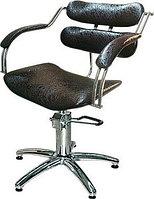 Кресло парикмахерское МЭДИСОН ИРЭН гидравлика хром, черное лаковое текстурное