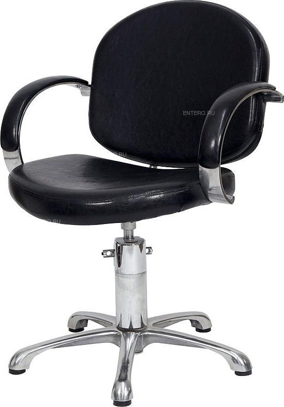 Кресло парикмахерское МЭДИСОН ОРИОН Люкс гидравлика хром, пятилучье хром на подпятниках, черное матовое