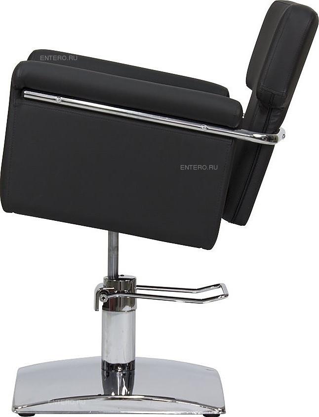 Кресло парикмахерское МЭДИСОН МД-77 гидравлика хром, квадрат хром, черное матовое