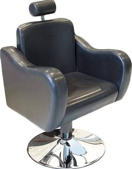 Кресло парикмахерское МЭДИСОН БРУКЛИН гидравлика хром, диск хром, черное текстурное № 92