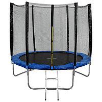 Батут ONLITOP, d=244 см, с внешней защитной сеткой и лестницей, синий